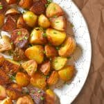 An overhead shot of a platter topped with Instant Pot (Pressure Cooker) Crispy Potatoes