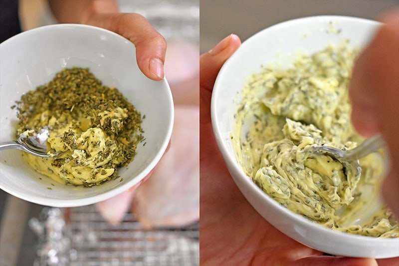 Mixing softened butter or ghee with dried herbs