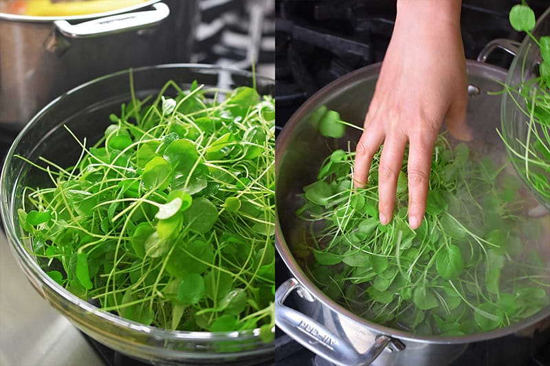 The tender watercress is added to the Watercress & Chicken Soup off the heat.