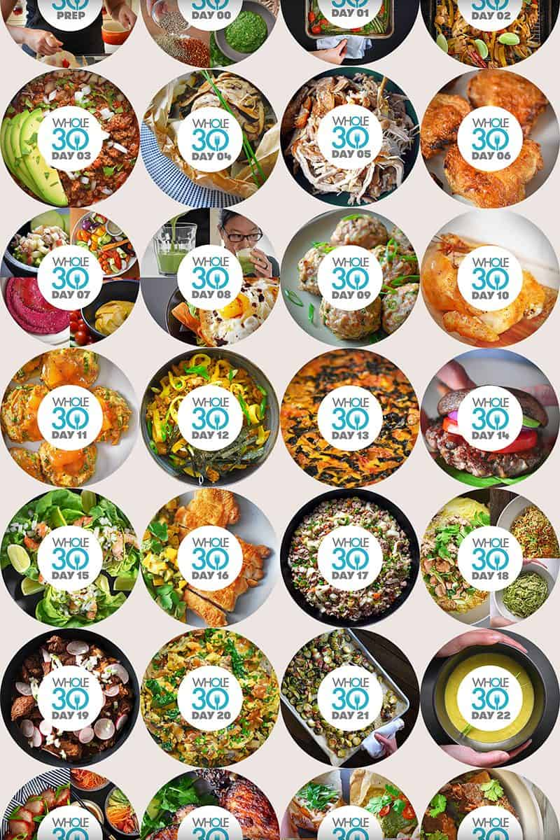 30 circles that show pictures of Whole30-compliant Nom Nom Paleo recipes.