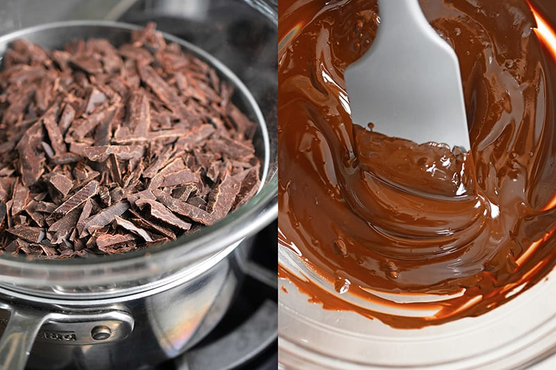 The left hand picture has shaved dark chocolate in a double boiler. The picture on the right is melted chocolate being stirred with a gray silicone spatula.