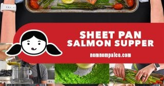 A collage of the cooking steps for Sheet Pan Salmon Supper