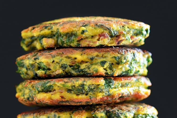 A stack of Egg Foo Young-ish (Spinach, Egg, Ham & Coconut Pancakes)