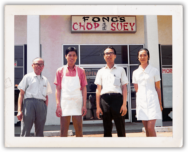 A picture of the four Chinese owners of Fong's Chop Suey.