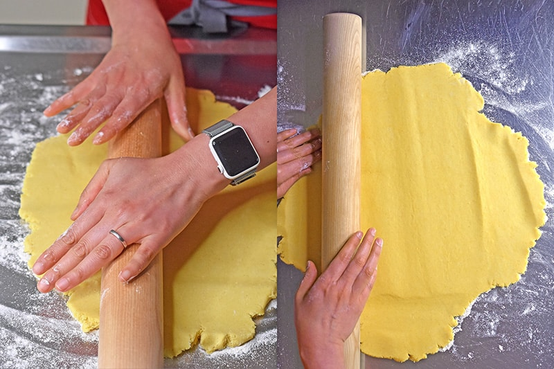 Rolling out the dough with a rolling dowel until it is thin.