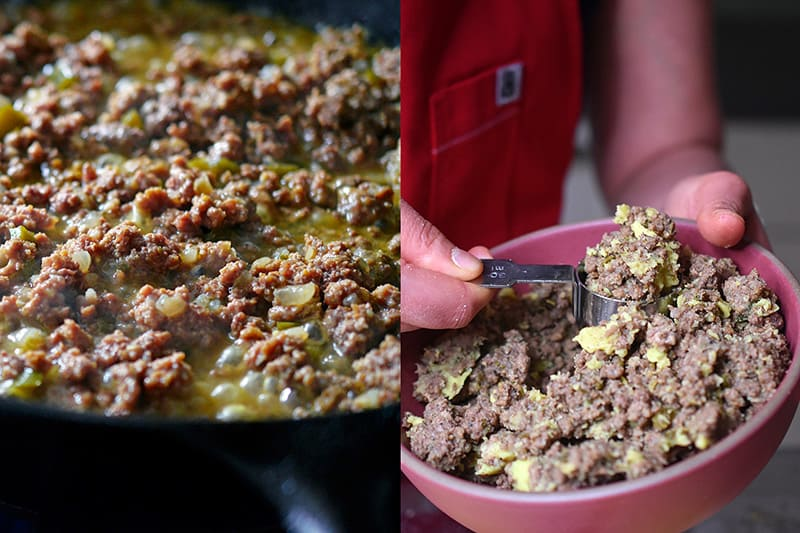 Scooping leftover Spiced Keema to fill Paleo Curried Meat Pies