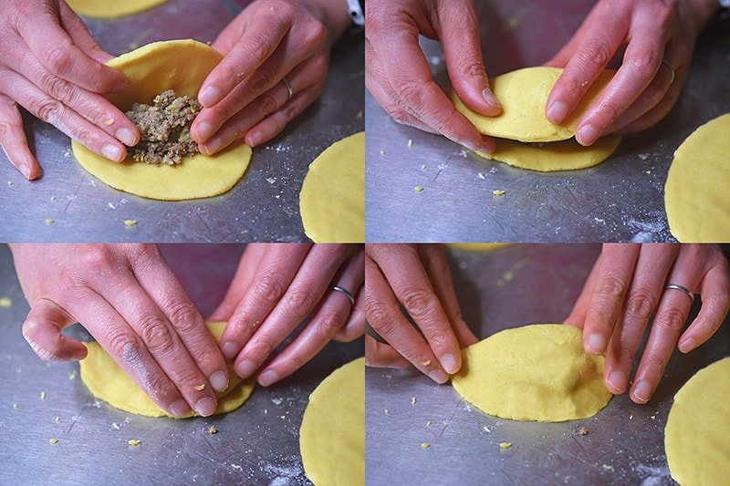 The four steps needed to form Paleo Curried Meat Pies