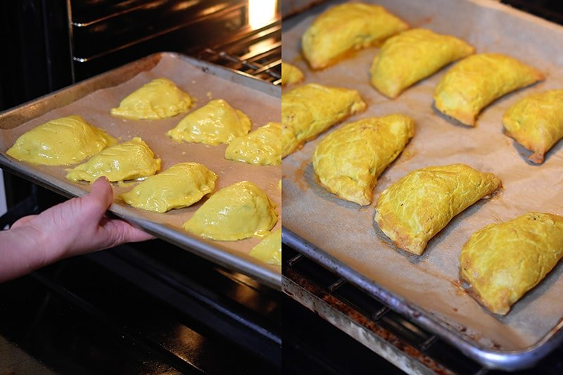 Baking a tray of Paleo Curried Meat Pies in the oven