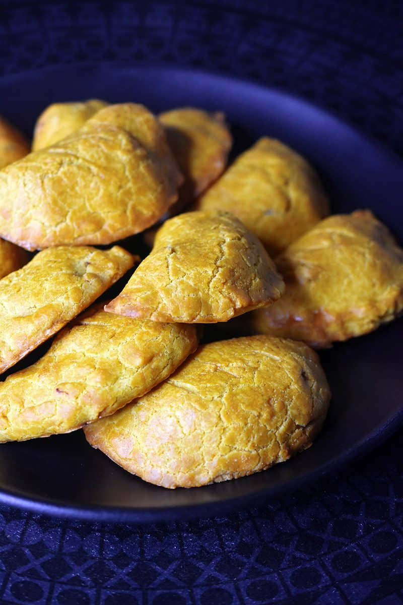 A closeup of Paleo Curried Meat Pies on a plate