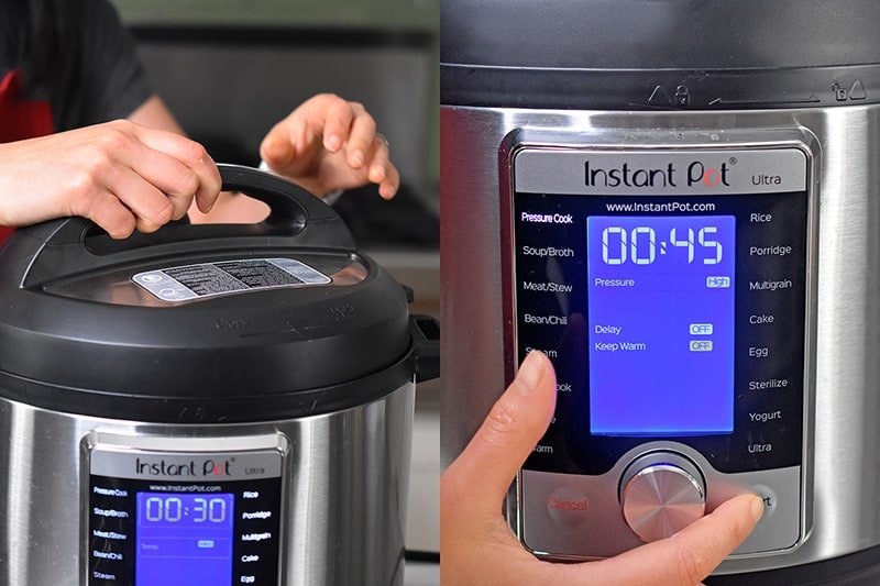 Locking the lid on the Instant Pot and programming it to cook for 45 minutes under high pressure.