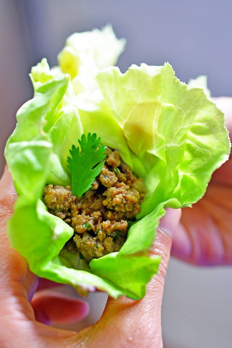 Deconstructed samosa in a lettuce cup.