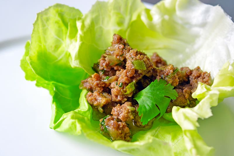 Paleo spiced keema in a lettuce wrap.