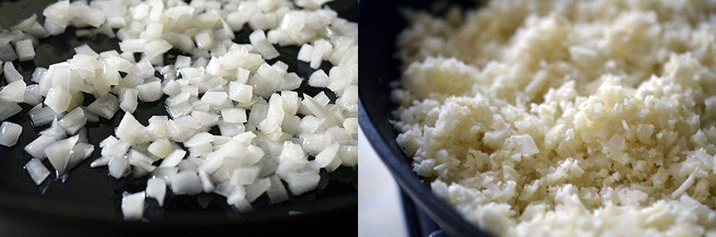 Close up shot of minced onions being sautéed in a skillet. The image on the right as riced cauliflower in the pan.
