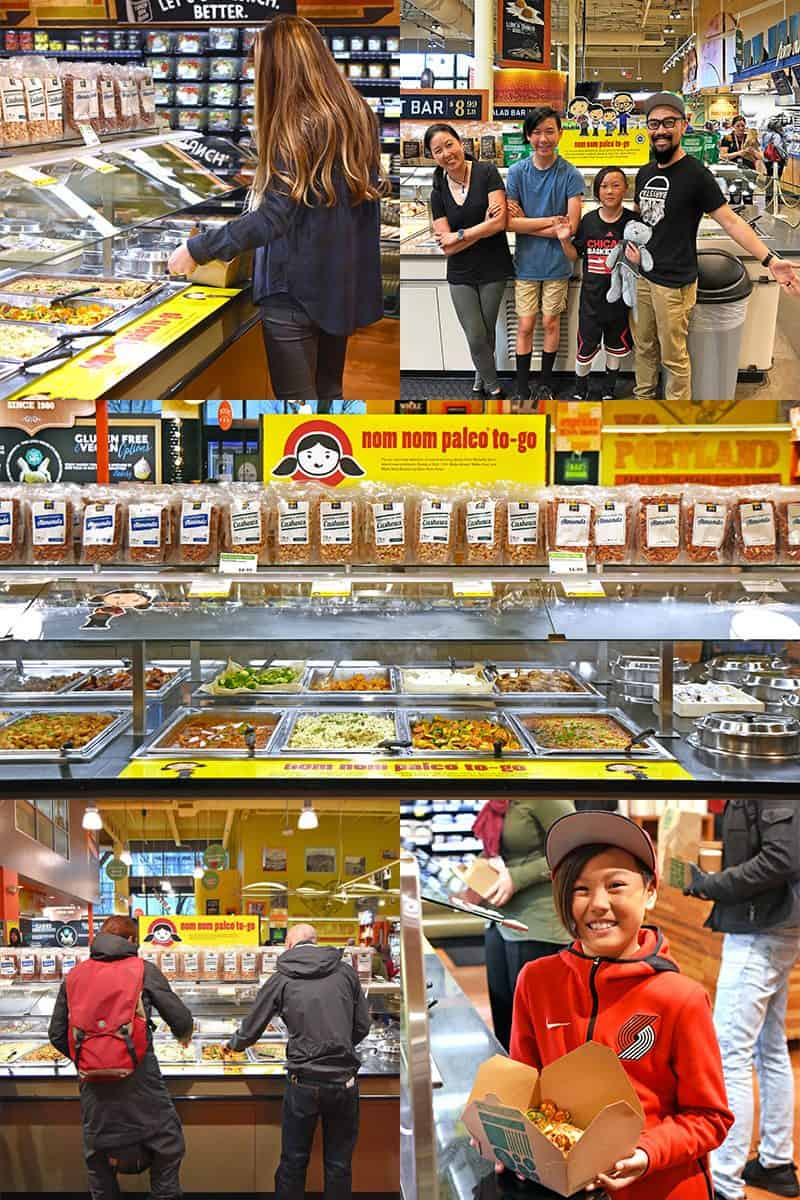 A collage of photos of Nom Nom Paleo food featured at the hot bar at Whole Foods Market locations