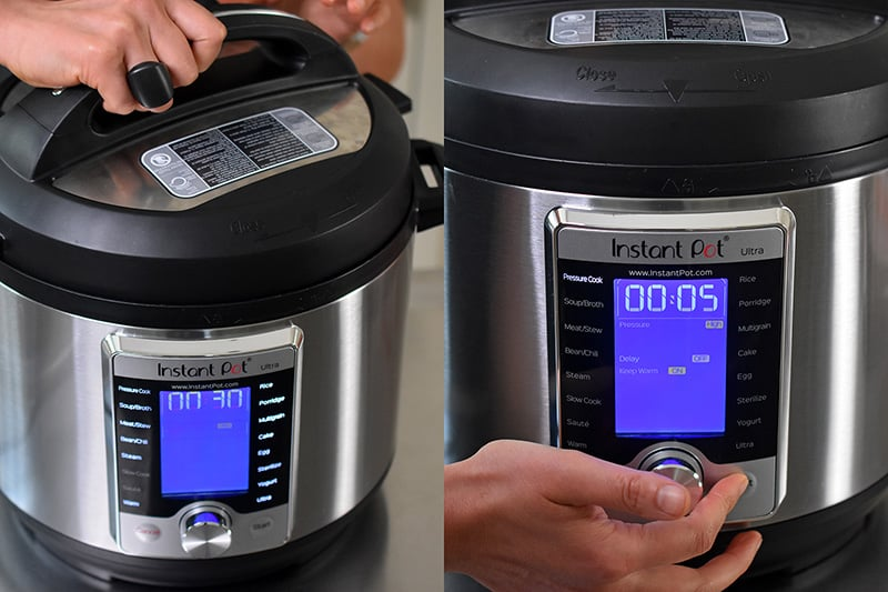 Someone locking the lid on an Instant pot and programming it to cook under high pressure.