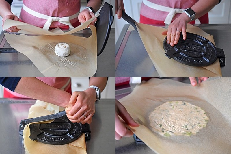 A four-step shot of someone flattening the Paleo Scallion Pancake dough in a tortilla press