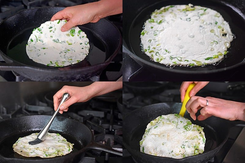 A four-step shot of someone frying a Paleo Scallion Pancake in a large cast iron skillet.