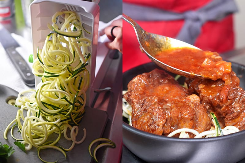 Zucchini spiralized into noodles and a large spoon is spooning Instant Pot Oxtail Stew onto zucchini noodles.