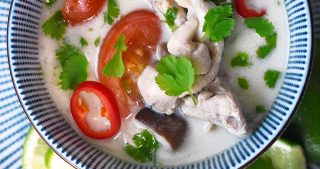 An overhead shot of a bowl of healthy paleo Tom Kha Gai