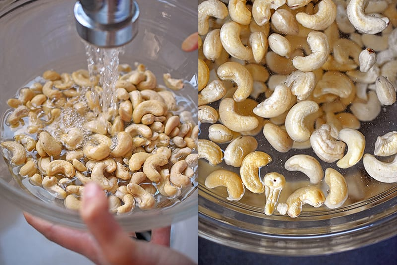 Soaking cashews to make No-Bake Matcha cheesecake