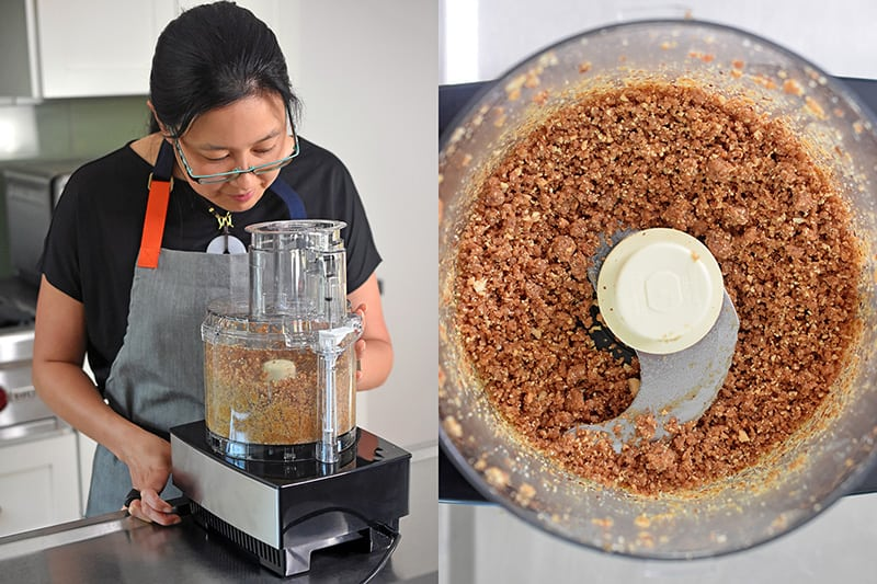 Pulsing the crust ingredients of No-Bake Matcha Cheesecake until it is the texture of coarse corn meal.
