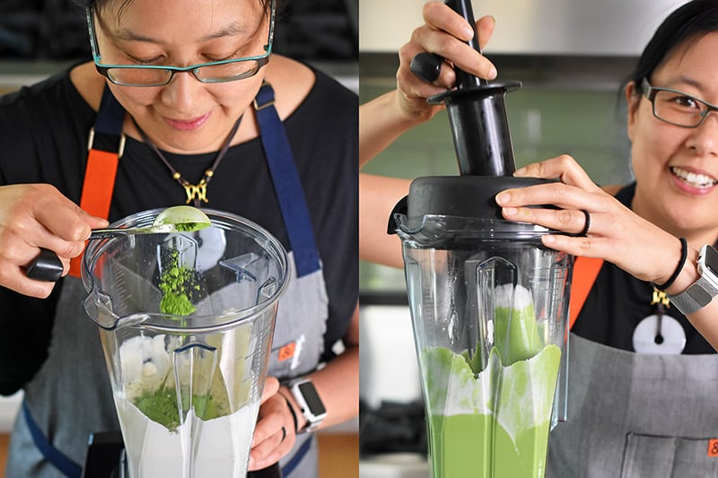 Adding the matcha to the paleo and vegan No-Bake Matcha Cheesecake filling in the blender.