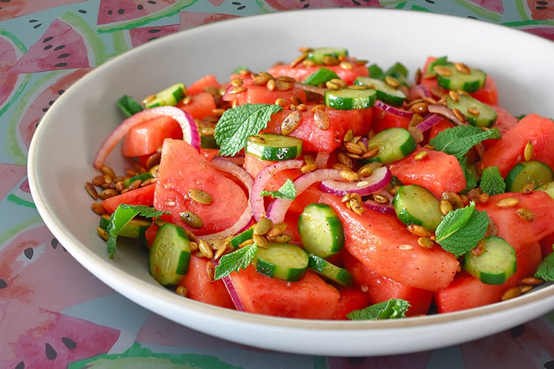 A bowl of paleo and Whole30 Mexican watermelon salad.