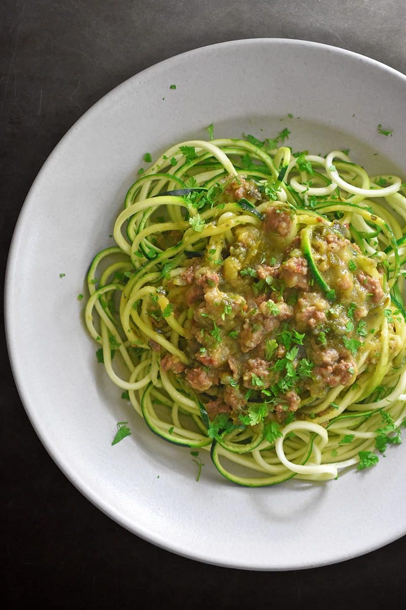 An overhead shot of Instant Pot Zucchini Bolognese on top of zucchini noodles.