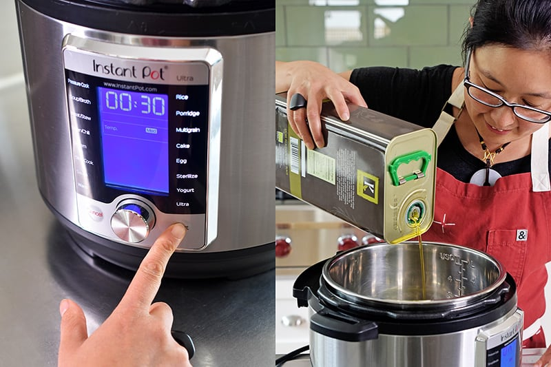 A shot of someone turning on the sauté function on an Instant Pot Ultra and adding some olive oil into the insert.