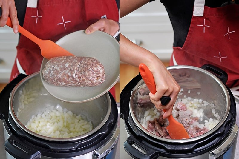 Bulk Italian sausage is added to an open Instant Pot and stirred in.