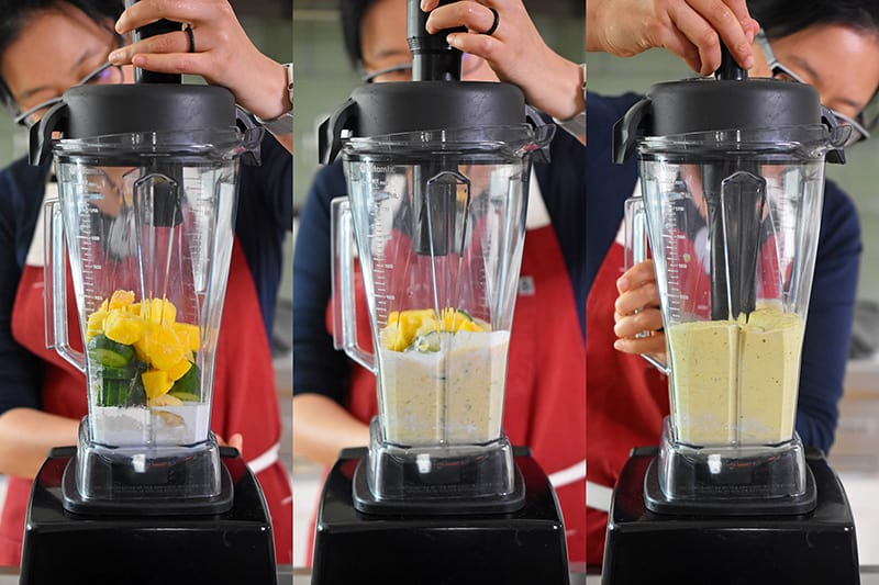 Michelle Tam blitzing the ingredients of golden glow smoothie in a Vitamix.
