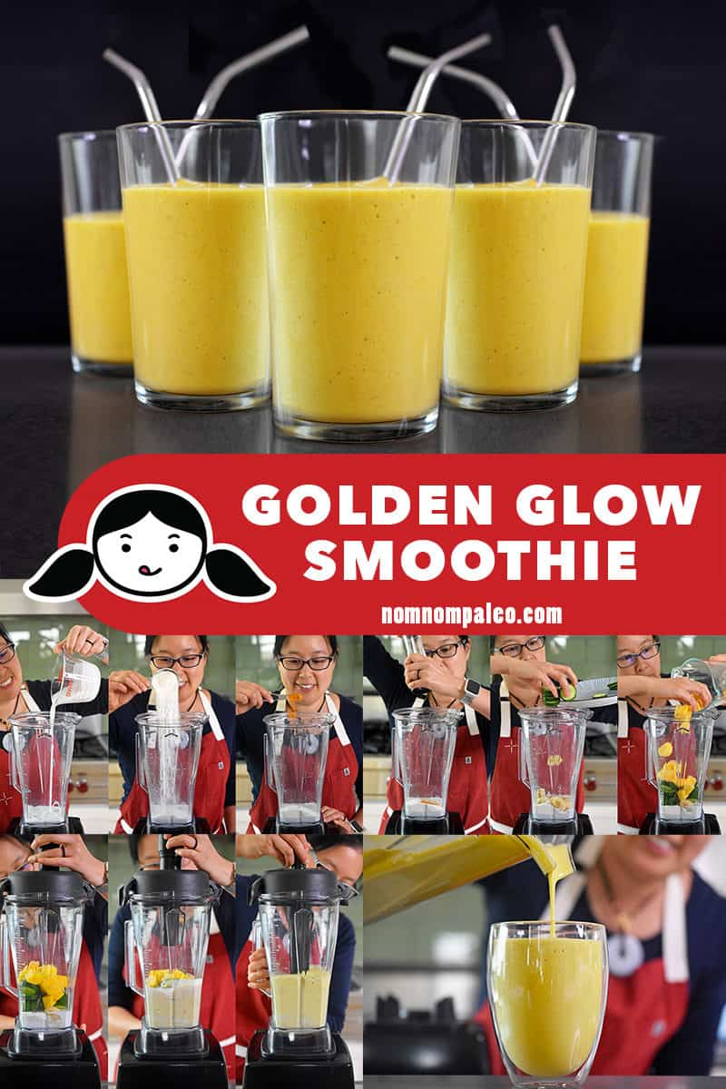 A collage of the cooking steps for golden glow smoothie.