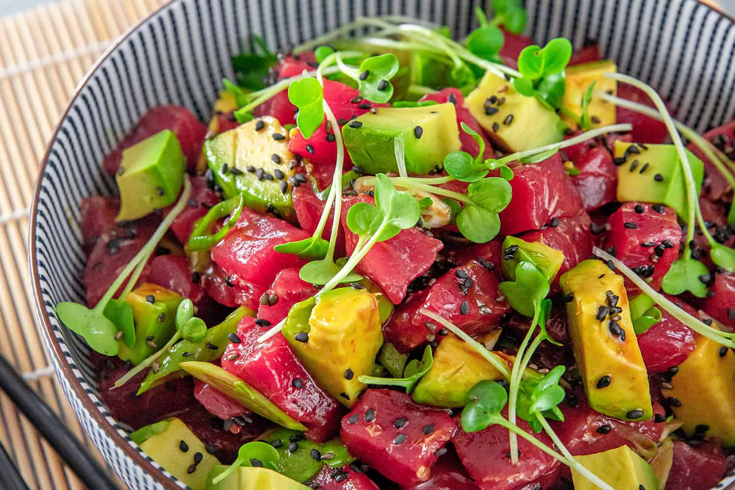 A close-up of Whole30 Tuna Poke with Avocado.