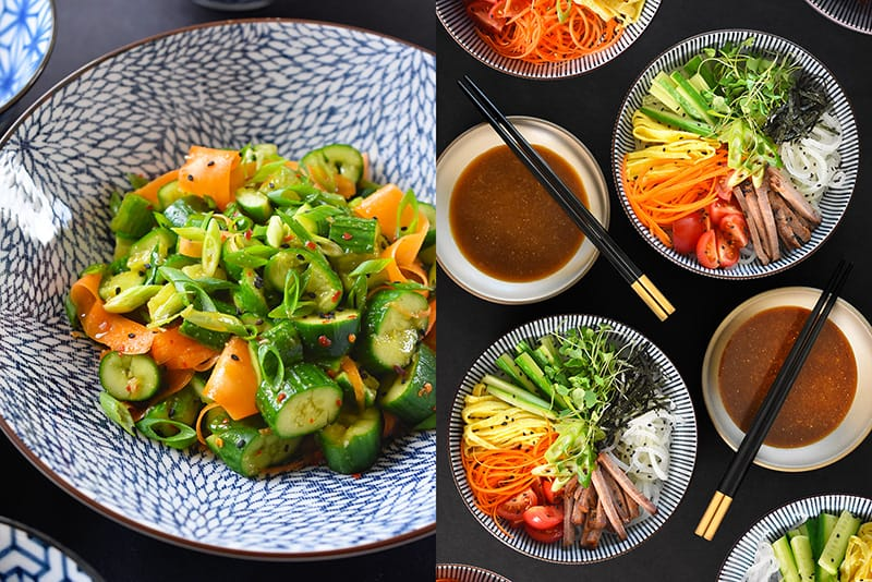 A shot of Cucumber and Carrot salad and Hiyashi Chuka, both seasoned with All-Purpose Stir-Fry Sauce