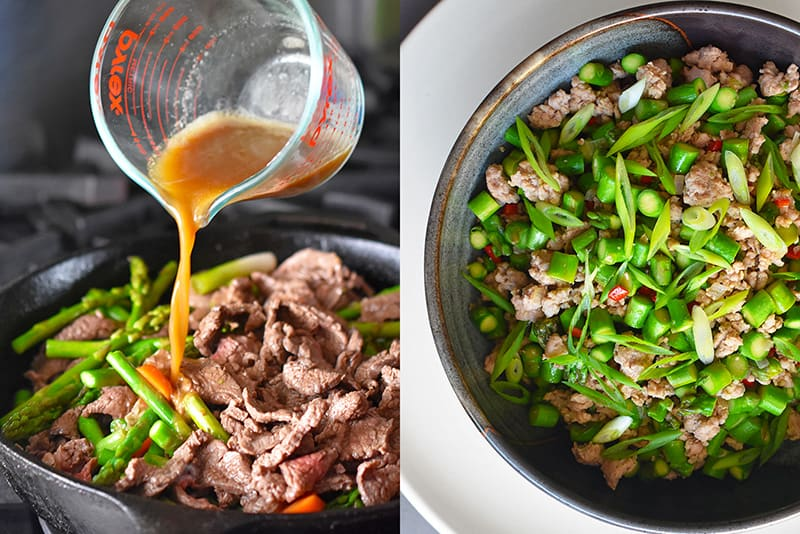 Two stir-fries made with All-Purpose Stir-Fry Sauce are pictured side by side