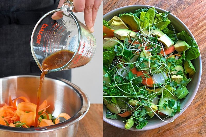 Two pictures that show All-Purpose Stir-Fry Sauce being used as a salad dressing