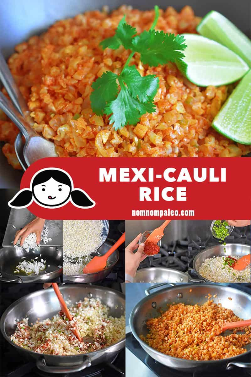 A collage of the cooking steps for Mexican Cauliflower rice, the perfect paleo side dish!