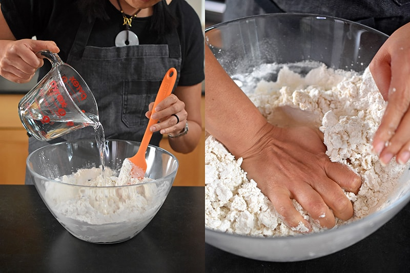 Place the wrapper dough ingredients into a large mixing bowl and mix in the boiling water.