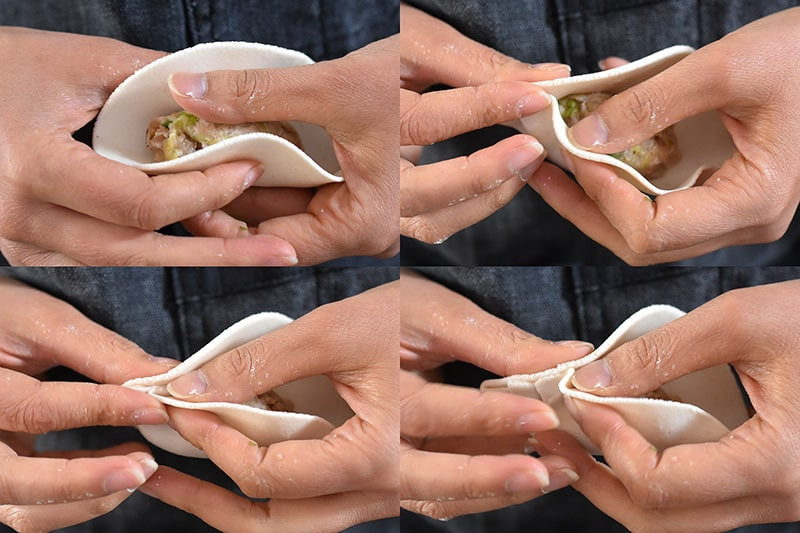 The sides of the wrapper are pulled up around the filling like a taco. Use your thumb to keep the filling down and stat crimping the edge of one side of the pot sticker.