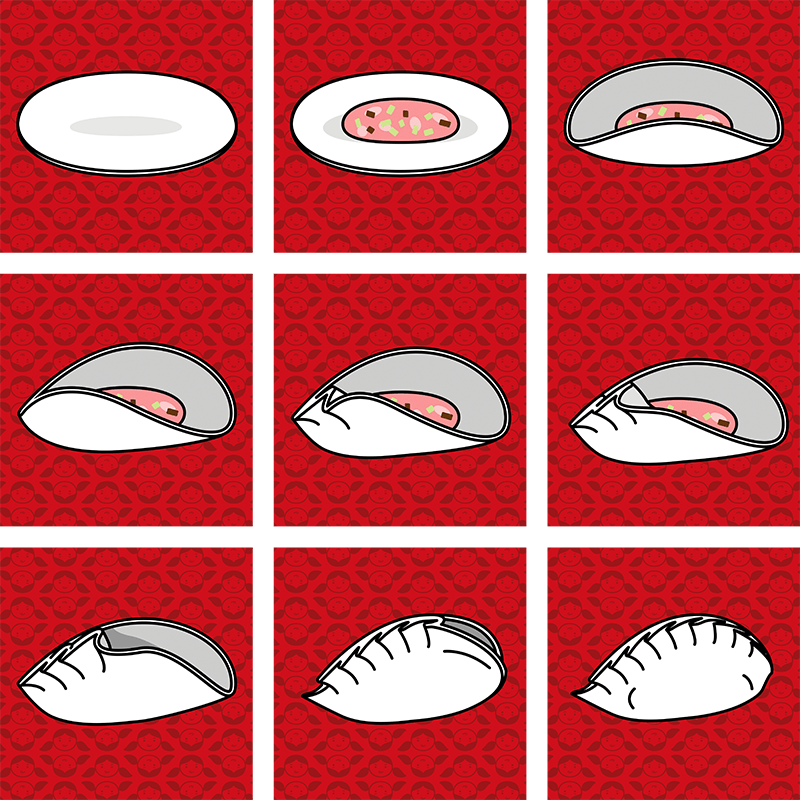 A cartoon depiction of how to fold pot stickers properly, divided into nine steps.