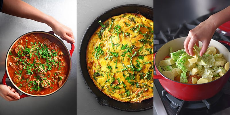 A picture of Sunday Gravy, a frittata ,and some vegetables in a pot.
