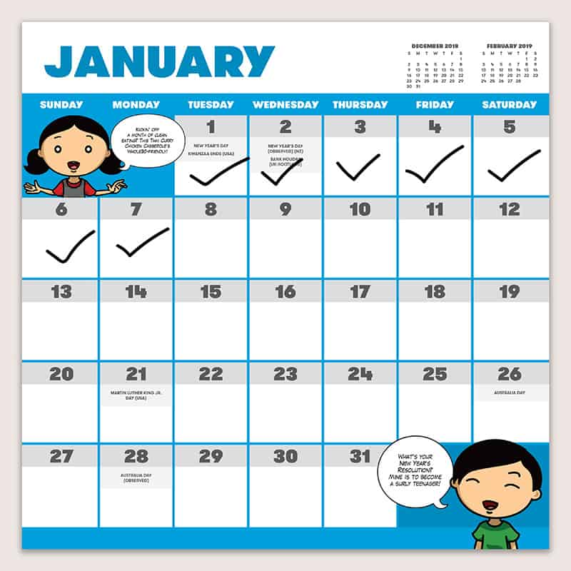 The January page of the One and Done 2019 Nom Nom Paleo Wall Calendar with check marks in the first week.