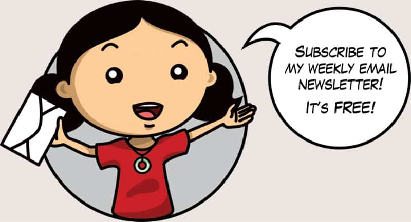 "A cartoon of Michelle Tam of Nom Nom Paleo holding an envelope and saying ""Subscribe to my weekly email newsletter! It's free!"""