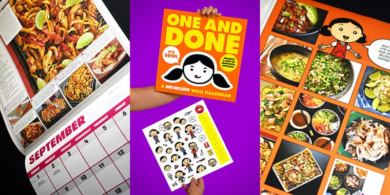 Three photos of the One and Done 2019 Nom Nom Paleo wall calendar.