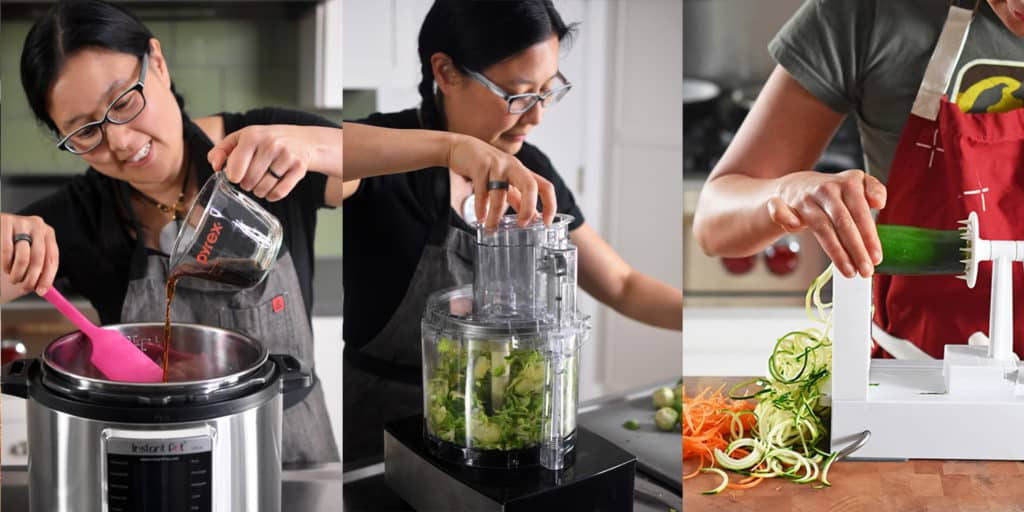 A woman is pouring a brown sauce into an open Instant Pot, a woman is chopping vegetables in a food processor, and a person is spiraling a zucchini.