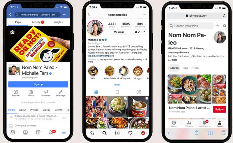 Three iPhone X are showing Nom Nom Paleo on the Facebook app, Instagram app, and Pinterest app.