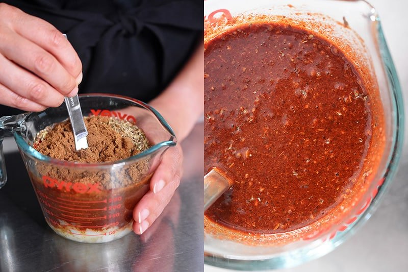 The Cowboy Chili spices are mixed with the broth until combined.