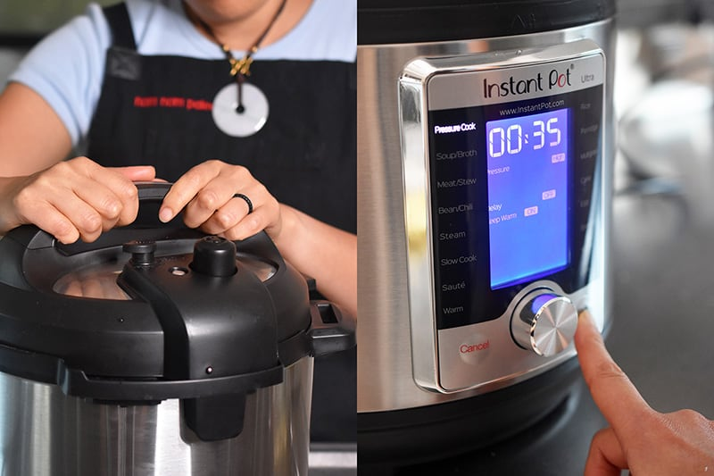 The picture on the left shows someone locking the lid on an Instant Pot and the picture on the right shows someone programming an Instant Pot Ultra.