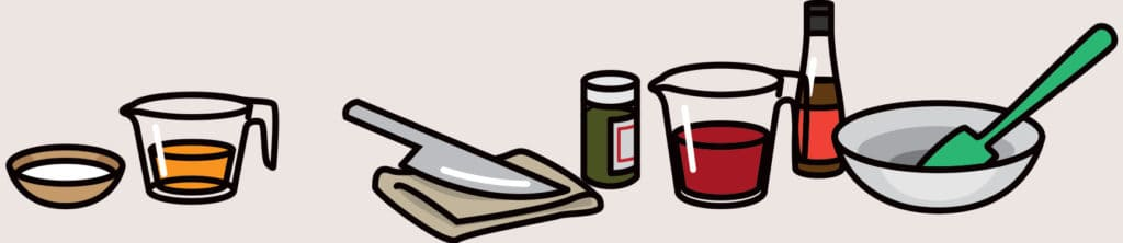 A cartoon of cooking tools and Paleo pantry items.