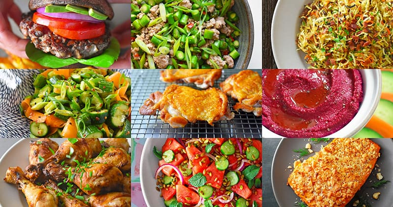 A collage of Whole30-compliant Nom Nom Paleo dishes.